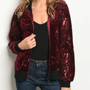 Jackets & Coats - VELVET JACKET WITH SEQUIN SLEEVES